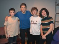The backstage crew with Greg James-Julius Field, Max Hunt and Thomas Woods