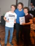 Ben Ashworth and George Hobart with  Greg James