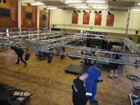 The lighting rig being built