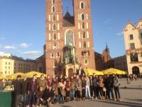The group in front of St Mary's Cathedral, Krakow city centre