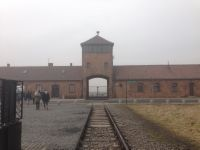 The iconic, sinister entrance to Auzchwitz-Birkenau