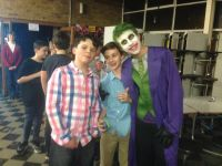 Posing with The Joker at the PTFA Disco
