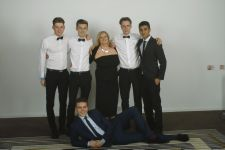 Mrs Parr, 'her boys' - and Tom. Leavers Ball, Radisson 2014
