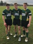 Cameron Wilson, another player and Max Bedford in Herts County team colours